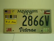 MISSISSIPPI Army Veteran License Plate 2866V
