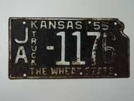1955 KANSAS State Shaped Truck License Plate JA 1176
