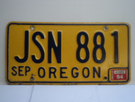 1984 OREGON License Plate JSN 881