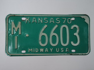 1970 KANSAS Midway USA License Plate MI 6603