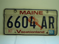 1999 MAINE Lobster Vacationland License Plate 6604 AR