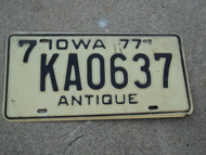 1977 IOWA ANTIQUE License Plate 7 KAO637