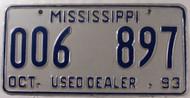 1993 Oct Mississippi Used Dealer 006 897 License Plate