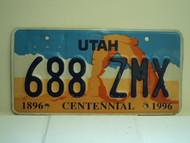 UTAH Centennial 1896 1996 License Plate 688 ZMX