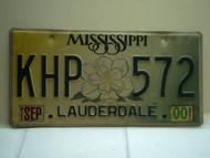 2000 MISSISSIPPI Magnolia License Plate KHP 572