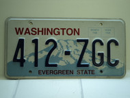 Washington Evergreen State License Plate 412 ZGC