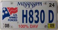 2009 Aug Mississippi 100% DAV License Plate