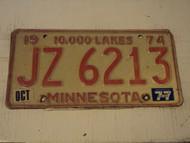 1974 1977 MINNESOTA 10,000 Lakes License Plate JZ 6213