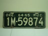 1964 1965 OREGON PUC Public Utilities Commission License Plate 1M 59874