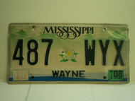 2008 MISSISSIPPI License Plate 487 WYX