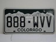 COLORADO License Plate 888 WVV