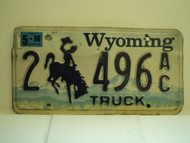 1998 WYOMING Bucking Bronco Truck License Plate 2 496 AC