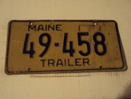 Tab missing MAINE Trailer License Plate 49 458