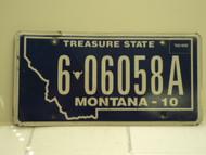 2010 MONTANA Treasure State License Plate 6 06958A