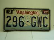 2001 WASHINGTON License Plate 296 GWC