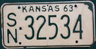 1963 Shawnee Co Kansas License Plate SN 32534