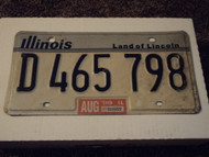 1999 ILLINOIS Land of Lincoln License Plate D 465 798