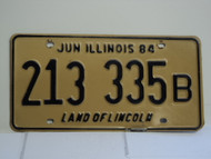 1984 ILLINOIS Land of Lincoln License Plate 213 335B