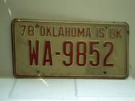 1978 OKLAHOMA License Plate WA 9852