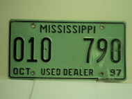 1997 MISSISSIPPI Used Auto Dealer License Plate 010 790