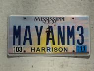2011 MISSISSIPI Vanity License Plate MAYANM3