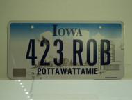 IOWA License Plate 423 ROB
