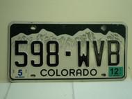 2012 COLORADO License Plate 598 WVB