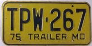 1975 Missouri TPW-267 Trailer License Plate