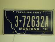 2010  MONTANA Treasure State License Plate 3 72632A