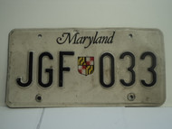MARYLAND License Plate JGF 033