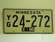 1980 MINNESOTA License Plate YG 24 272