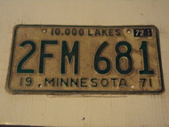 1971 1972 MINNESOTA 10,000 Lakes License Plate 2FM 681