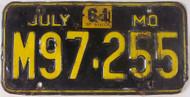 1961 Jul Missouri License Plate M97-255 DMV Clear