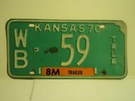 1970 KANSAS 8M Trailer License Plate WB 59
