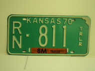 1970 KANSAS 8M Trailer License Plate RN 811