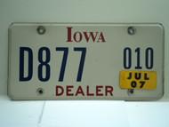 2007 IOWA Dealer License Plate  D877 010