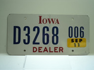 2007 IOWA Dealer License Plate  D877 006