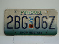2008 MISSOURI Blue Fade Show Me State License Plate 2BG 067