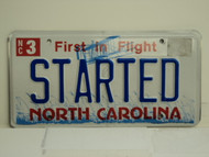 NORTH CAROLINA First in Flight Vanity License Plate STARTED