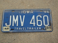 1986 1989 IOWA Travel Trailer License Plate JMV 460