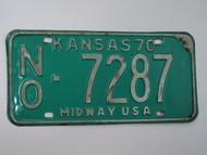 1970 KANSAS Midway USA License Plate NO 7287