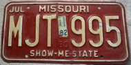1982 Jul Missouri License Plate MJT 995 DMV Clear