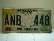 2000 MISSISSIPPI Magnolia License Plate ANB 448