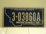 2010 MONTANA Treasure State License Plate 3 03860A