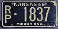 1968 Republic Co Kansas RP-1837 Midway License Plate