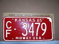 1965 Coffey Co Kansas CF 3479 Midway License Plate