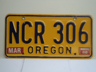 1988 OREGON License Plate NCR 306