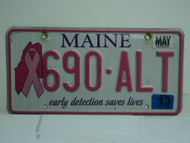2013 MAINE Pink Ribbon Cancer Early Detection License Plate 690 ALT
