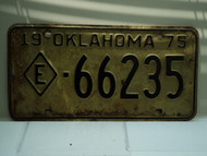 1975 OKLAHOMA Exempt License Plate E 66235
