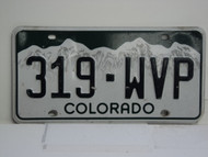 COLORADO License Plate 319 WVP